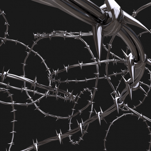 3D Render of barbed wire